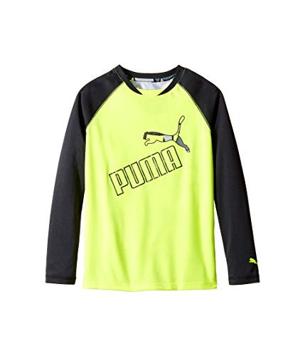 Puma Kids Boy's Long Sleeve Printed Back Tee (Big Kids) Acid Yellow T-Shirt