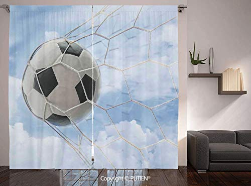 PUTIEN Thermal Insulated Blackout Window Curtain [ Sports Decor,Soccer Ball in Goal with Cloudy Sky Summertime Outdoor Activities Sporting, for Living Room Bedroom Dorm Room Classroom Kitchen Cafe]()