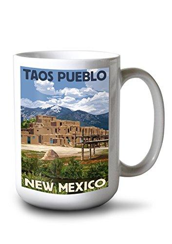 - Lantern Press Taos Pueblo, New Mexico - Ruins Scene (15oz White Ceramic Mug)