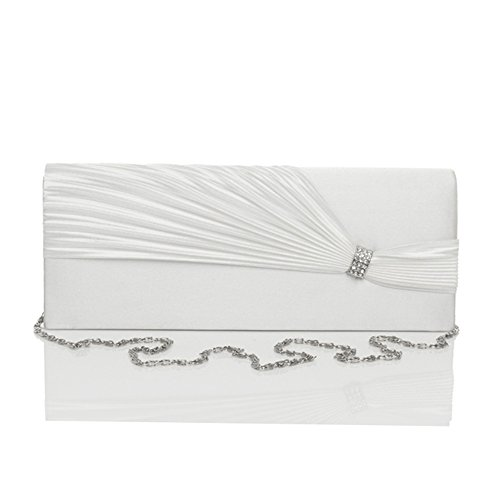 Handbags Strap Evening Wedding Ladies Detachable Diamante Bags Ruched Flap Clutch White Prom Chain Womens PqgFwx7fw
