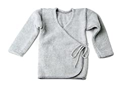 LANACARE Organic Wool Baby Sweater, Soft Grey, size 74 (6-9 mo)