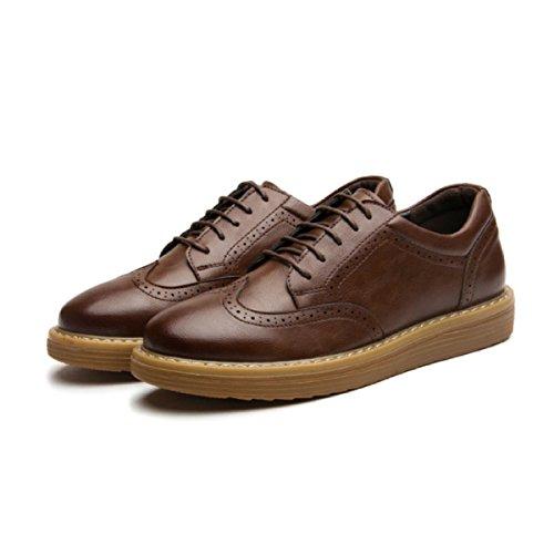 LYZGF Hommes Jeunes Affaires Loisirs Chaussures Chaussures De Mode En Dentelle Brown