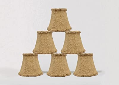 Urbanest 1100459c Chandelier Mini Lamp Shades 5-inch, Bell, Clip On, Burlap (Set of 6)