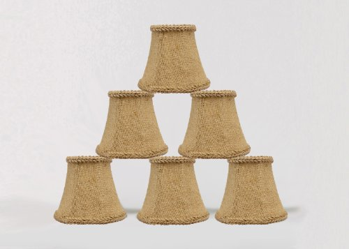 Urbanest 1100459c Chandelier Mini Lamp Shades 5-inch, Bell, Clip On, Burlap (Set of - Shades Chandelier French Country