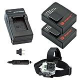 Smatree Battery(2 Packs) + Charger kits + Head Belt Strap Mount for GoPro HD HERO3+,HERO3,AHDBT-201,AHDBT-301, AHDBT-302