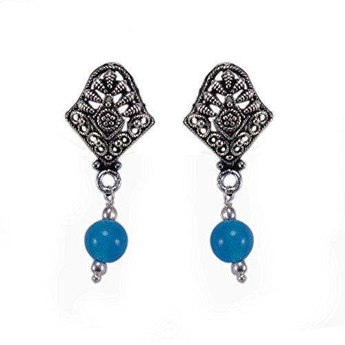 silvesto Inde perles quartz bleu clair plaqué argent 925Boucles d'oreille Clous Sz 33mm PG 22879