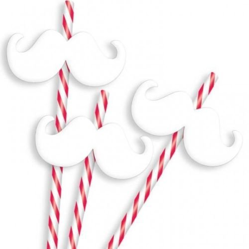 Christmas Moustache Straws x 12