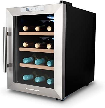 CREATE IKOHS WINECOOLER WOOD M - Vinoteca de 12 botellas, 33 l, 70 W Luz LED, Display Digital, 3 Estantes, Doble Aislamiento, Zonas de temperatura de 11-18 grados, Baldas Madera