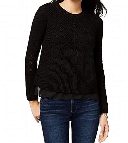 (Lucky Brand Womens Nico Cashmere Blend Crewneck Pullover Sweater Black XL)
