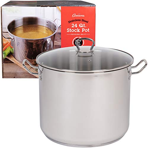 24 Quart Stockpot- Tri-Ply Stainless Steel Stock Pot w Glass Lid- Commercial Grade Sauce Pot for Canning w Stick Resistant Interior, Stay Cool Handles and Induction Compatible