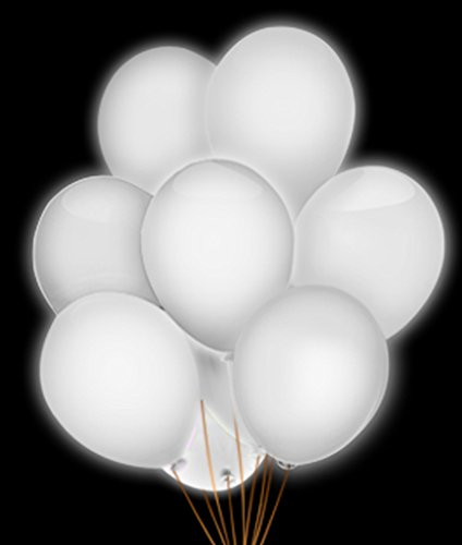 Fun Central AH942, 5 Pcs 14 Inches White LED Blinky Balloons, Glow in The Dark Balloons, LED Light Up Balloons, LED Party Balloons, Glow Balloons for Christening, Wedding, Birthday, Decoration]()