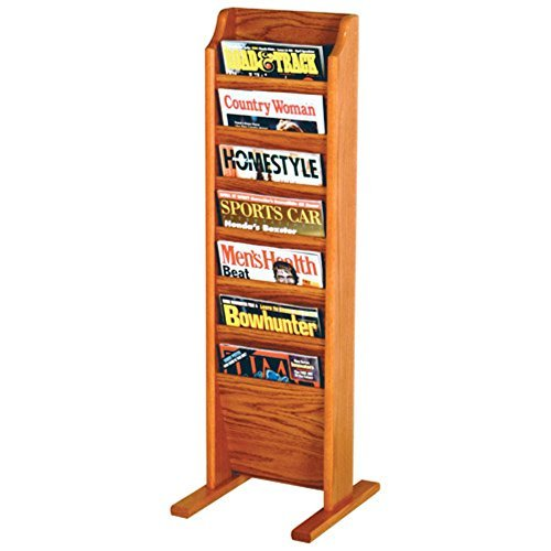 (Wooden Mallet 7-Pocket Cascade Free-Standing Magazine Rack, Medium Oak by Wooden Mallet)