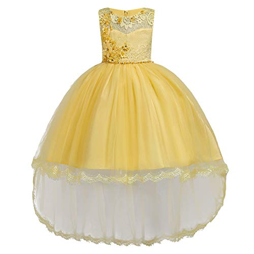 HUANQIUE Pageant Party Dresses Hi-Low Lace Flower Girl Dress Yellow 7-8 Years