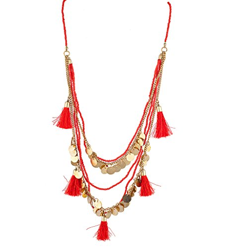Lux Accessories Red Fringe Gypsy Disc Beaded Statement Necklace (Gypsy Costume Man)