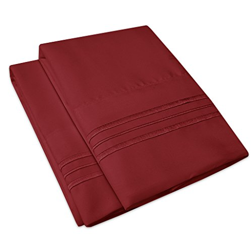 1500 Supreme Collection 2 Pack Bed Pillow Cases - Luxury Embroidered Premium Softness and Wrinkle Resistant Breathable Additional Pillowcases For Bed Sheets - 12 Colors - Standard, Burgundy