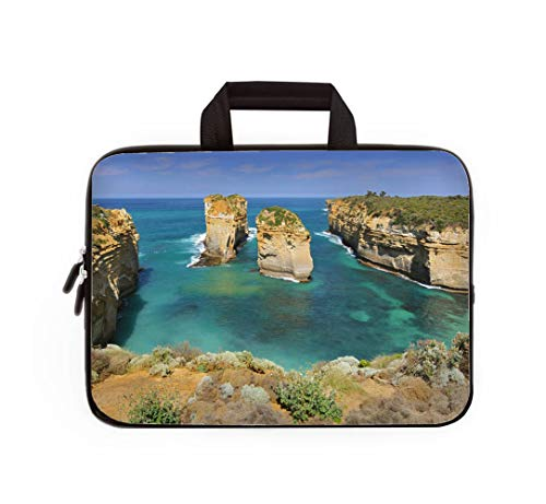 (Double Zipper Laptop Bag,Australia Great Ocean Road Port Campbell National Park by the Great Ocea,13 inch Canvas Waterproof Laptop Shoulder Bag Compatible with 11.12.6