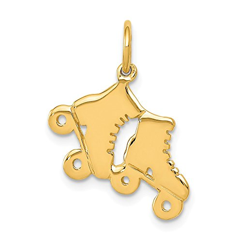 Skate 14k Gold Charm - 14K Yellow Gold Roller Skates Charm Pendant from Roy Rose Jewelry