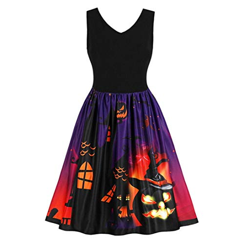 (Halloween Costumes Dress Pumpkin Black Cat Ghost Vintage Print Dress Evening Prom for)