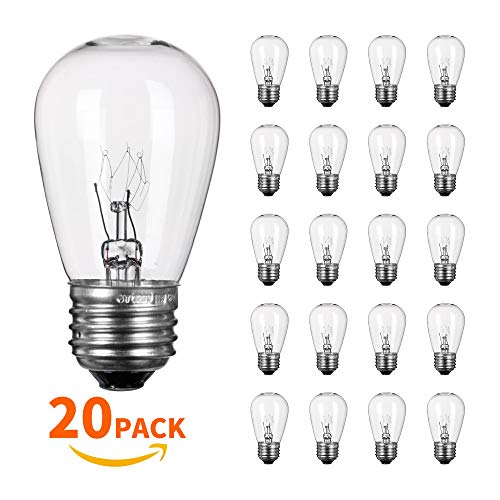 20 Pack S14 Light Bulbs 11 Watt Warm Commercial Grade Replacement Incandescent Glass Bulbs with E26 Medium Base for Outdoor Patio Garden Vintage String Lights