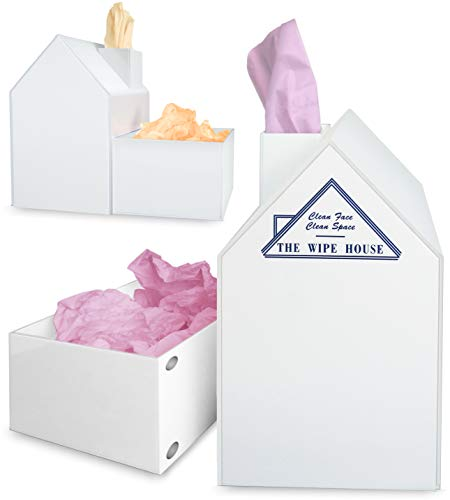 (Multi Purpose Tissue Box Cover with Detachable Utility Bin. No More Used Tissues All Around & in Your Pockets. TV Snacking Acrylic White House Facial Tissue Holder with Lid. Paintable. 5-Year Warranty)