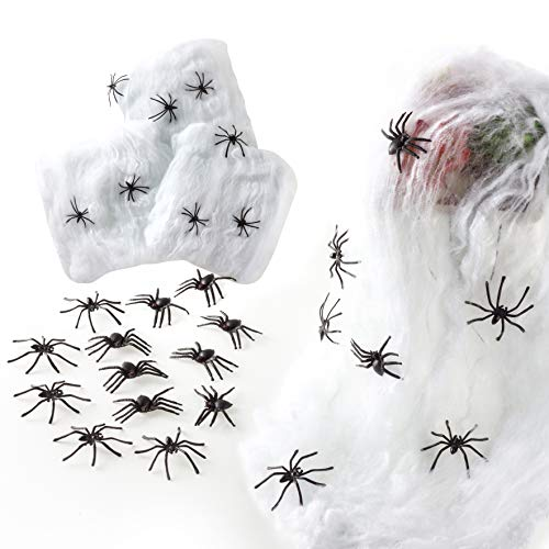 Halloween Decorations Spider Web (400 Square Feet) Fake Spider Web with 28 Fake Spiders for Halloween Indoor & Outdoor Scary Party Decorations