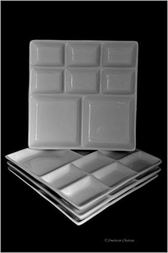 Set 4 Divided 8-Section White Porcelain 8
