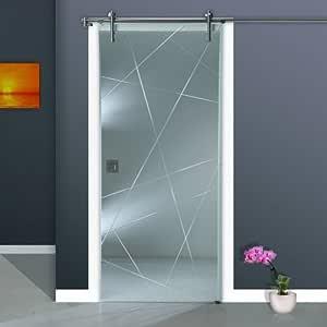 Corredera de cristal ST 968-F V1000 - 1025 x 2050 x 8 mm DIN derecha, 8 mm el vidrio de seguridad, claro con vidrio estriado de cristal, manija de descarga y sistema
