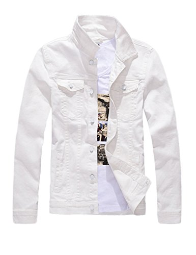 DSDZ Men`s Classic Slim Fit Motorcycle Denim Jacket Coat White L(Asian 4XL)