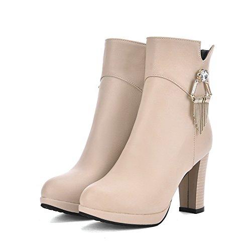 VogueZone009 Damen Weiches Material Reißverschluss Rund Zehe Hoher Absatz Stiefel, Cremefarben, 37
