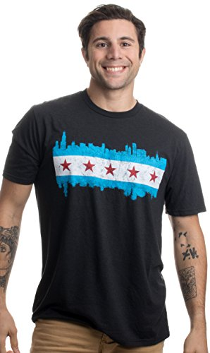 Chicago Skyline City Flag | Vintage Retro-Feel Triblend T-Shirt for Men or Women-(Triblend,XL) ()
