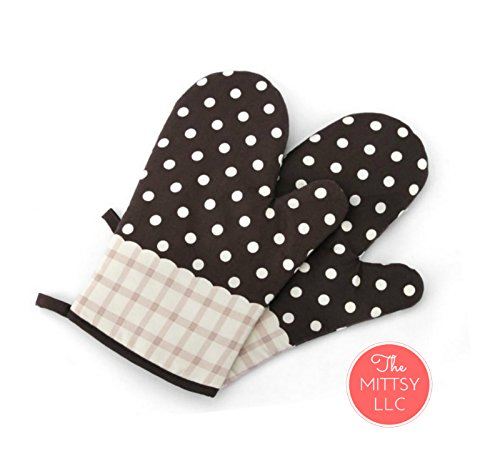 Set of Two Oven Mitts | Heat Resistant Cotton Kitchen Pot Holder Gloves for Cooking,Barbecue,Baking,Grilling (Dotted Brown)