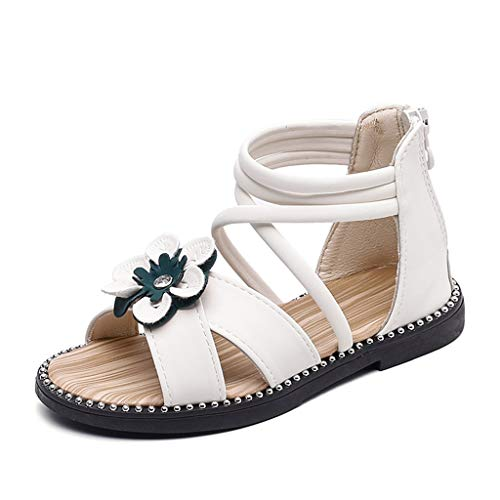 (XLnuln Summer Toddler Infant Kids Baby Girls Cute Cartoon Flower Leather Princess Shoes Boho Party Single Sandals White)