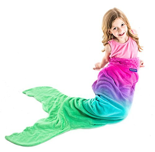 Mermaid Tail Blanket - Gorgeous, Pink and Aqua Ombre Design - Double-Sided Minky Fleece Mermaid Tail Sized for Kids - Climb Inside this Cozy Wearable Blanket