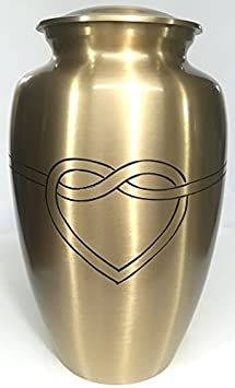 Ansons Urns Cremation Urn – Hugging Heart Funeral Urn for Human Ashes – Large Adult Size Burial Urn – 100 Brass Silver