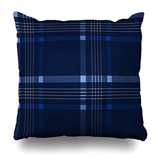 ArtsDecor Throw Pillow Covers Cases Blue Black Scottish Plaid Checkered Abstract British Celtic Checks Pattern Closeup Design Modern Home Decor Cushion Square Size 16