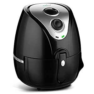 Upgraded 2017 Air Fryer Oven Best Seller Prime Easy Knobs - Extra Large 3.7 Quart 3.2 Liter Capacity Anti Rust Stainless Stainless Steel Oilless Convection Multi Air Cooker   Basket & Pan (PKAIRFR22)