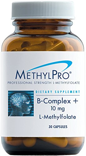 MethylPro B-Complex + 10mg L-Methylfolate 30 Capsules - Professional Strength Active Folate for Energy + Mood Support with Methyl B12 + B6 as P-5-P, Non-GMO + Gluten-Free