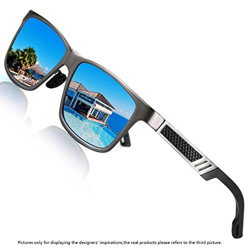 ROCKNIGHT Polarized UV Protection Men's Sunglasses Wayfarer Full Frame Grey-blue Flat Lens - Reflective Men Sunglasses