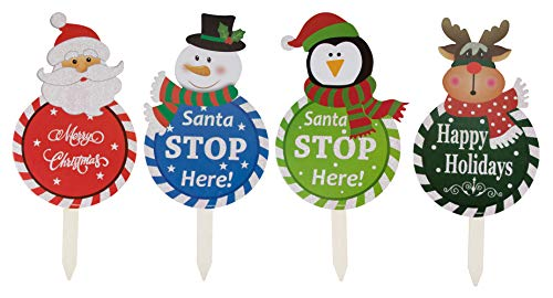 (Juvale Christmas Yard Sign Stakes - 4-Pack Assorted Happy Holidays Round Sign Decoration for Outdoor Lawn Garden, Santa, Snowman, Penguin, Reindeer Designs, 17 x 8 Inches)