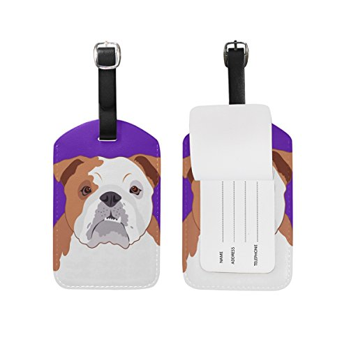 My Daily Bulldog Luggage Tag PU Leather Bag Tag Travel Suitcases ID Identifier Baggage Label 1 Piece