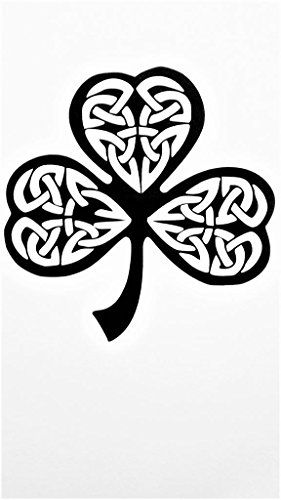 Irish Celtic Knot Shamrock Vinyl Decal Sticker|BLACK|Cars Trucks Vans SUV Laptops Wall Art|5.25