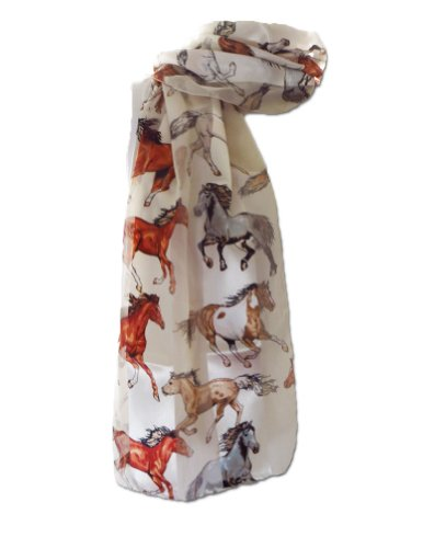 New Company Horses Equestrian Kentucky Derby Scarf Ð White Ð One Size