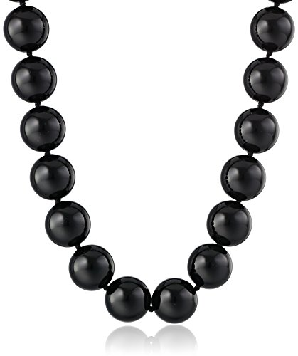 14k Yellow Gold 14mm Black Onyx Bead Necklace, 17