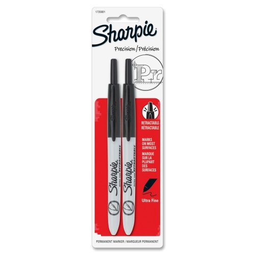 Sharpie Retractable Ultra Fine Point Permanent Marker - Ultra Fine Marker Point Type - Black Ink - 2 / Pack