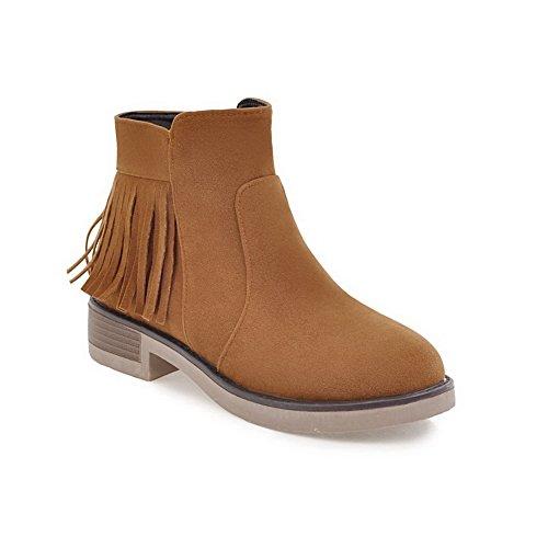 Balamasa Mujeres Platform Slip-resistant Tassels Botas De Ante Retro Abl09947 Amarillo