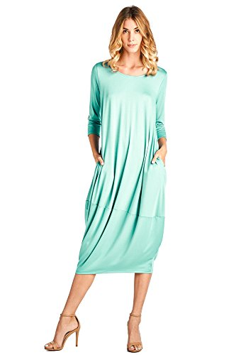 - 12 Ami Solid 3/4 Sleeve Bubble Hem Pocket Midi Dress Mint 3XL