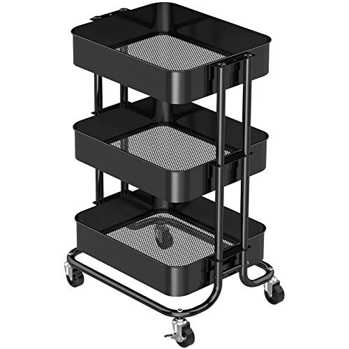 Pipishell 3-Tier Metal Rolling Utility Cart, Heavy-Duty Storage Cart with 2 Lockable Wheels, Multifunctional Mesh Organization Cart for Kitchen Dining Room Living Room, Black