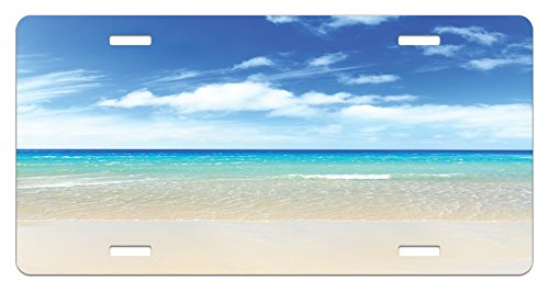 Tropical Sandy Beach at Summer Sunny Day Holiday Vacation Theme Image Print High Gloss Aluminum Novelty Plate 5.88 L X 11.88 W Inches Lunarable Ocean License Plate by Ivory Aqua Blue