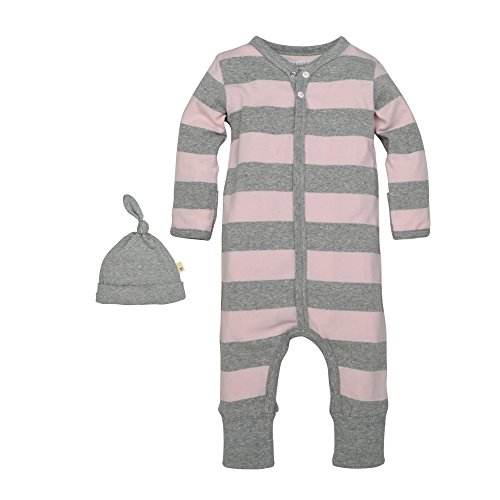 nisex Baby Romper and Hat Set, One Piece Jumpsuit and Beanie Set, 100% Organic Cotton, Blossom/Heather Grey Rugby Stripe, 18 Months ()