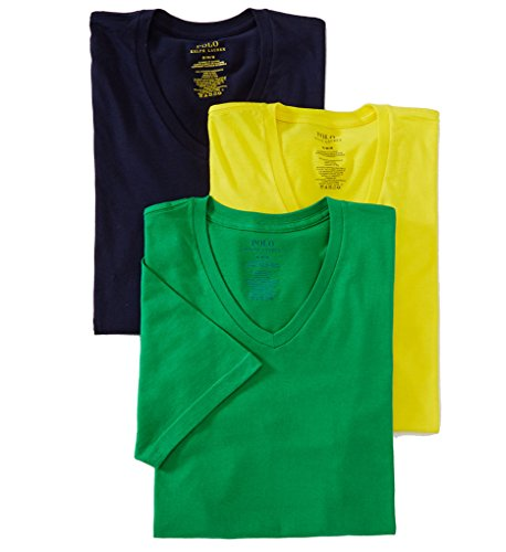 Polo Ralph Lauren Men's Classic V-Neck T-Shirts 3-Pack (M, Lemon, Green, Navy)
